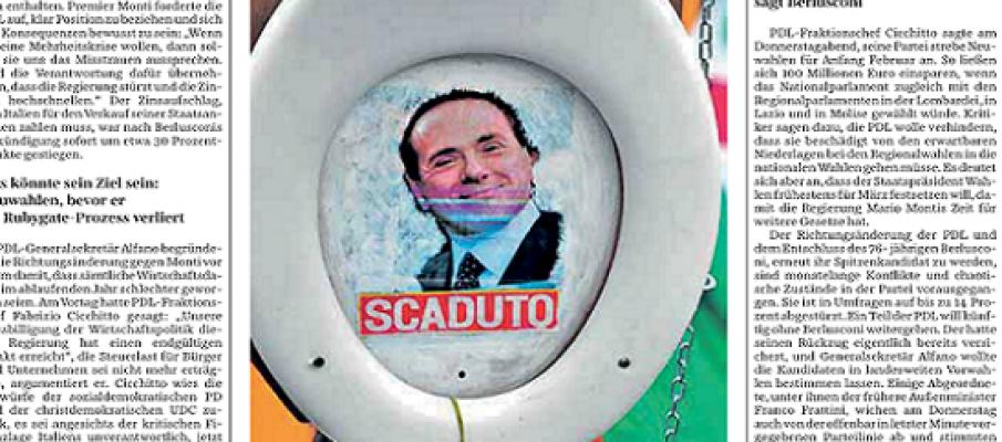 Quel volto di Berlusconi nel wc di Berlino