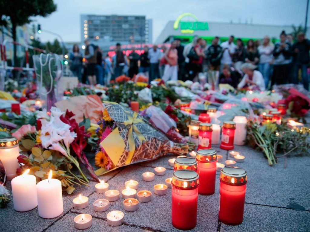 A memorial to those shot by the Munich gunman, who was said to be obsessed with mass shootings Getty
