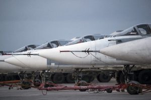Russian bombers are parked at Hemeimeem air base in Syria on March 4, 2016. (Pavel Golovkin/AP)